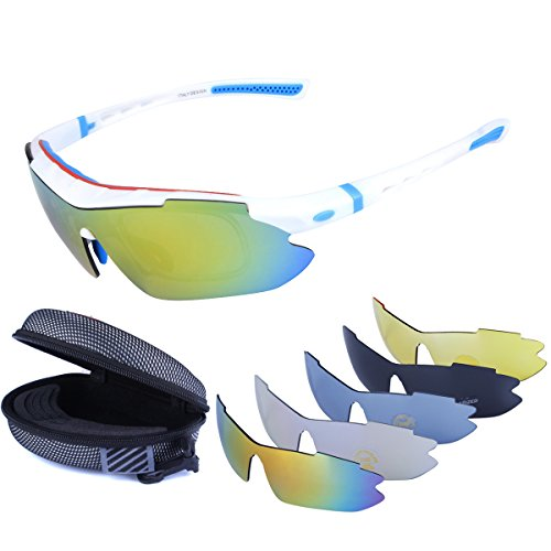 Polarized Sports Sunglasses Cycling Baseball Running Fishing Driving Golf Hiking Biking Outdoor Glasses with 5 Interchangeable Lenses OTG Motorcycle Bicycle Riding Goggles for Men Women (white & blue)