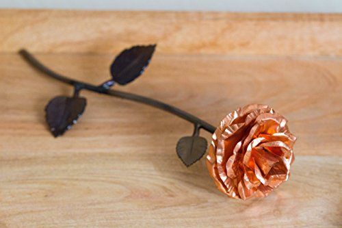 Personalized Hand Forged Copper and Wrought Iron Metal Rose - Handmade Personalized Ornaments