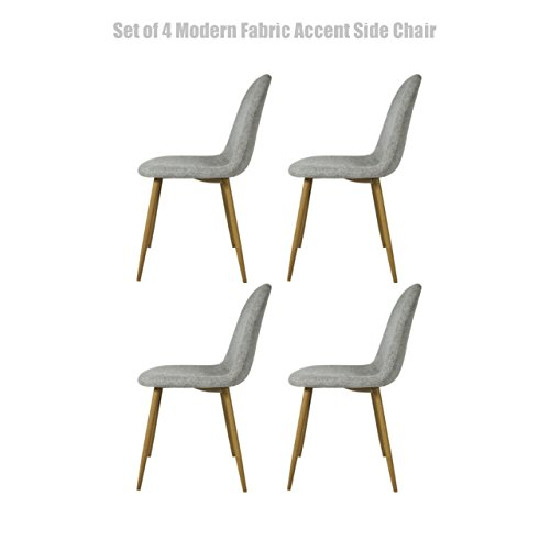 Modern Fabric Upholstered Dining Chairs Thick Padded Seat Durable Steel Legs Comfortable Ergonomic Backrest Design - Set of 4 Grey #1450 (Furniture Sale Melbourne)