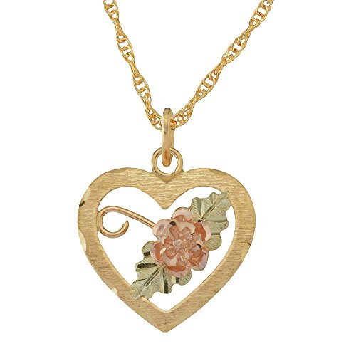 Black Hills Gold Heart Pendant Necklace with Rose and Leaves