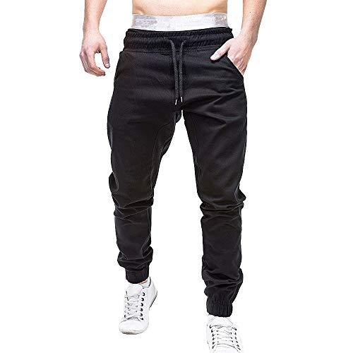 iTLOTL Men Sweatpants Slacks Casual Elastic Joggings Sport Solid Baggy Pockets Trousers(Black,XL) (686 Smarty Cargo)