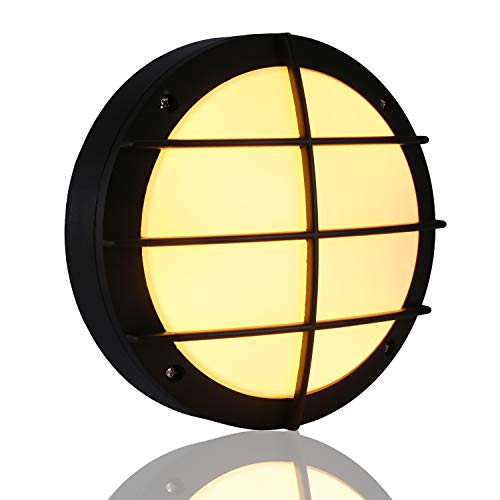 Lampmall 10.8'' Contemporary Led Wall Bulkhead Light,15w Waterproof Round Exterior Wall Sconce Wall Mounted Light Fixture,Warm White