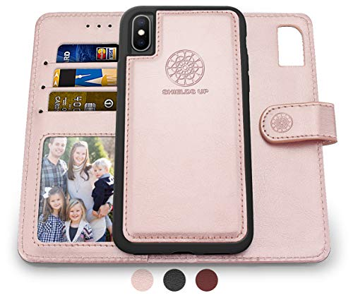Shields Up iPhone Xs Case/iPhone X Case, [Detachable] Magnetic Wallet Case, Durable and Slim, Lightweight with Card/Cash Slots, Wrist Strap, [Vegan Leather] Cover for Apple iPhone Xs/X -Rose Gold