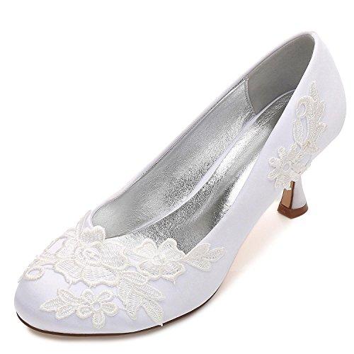L@YC Frauen Hochzeit Schuhe Büro Blume Corsage Satin Nahen Zehen Party Court Größe (Nach Maß) White