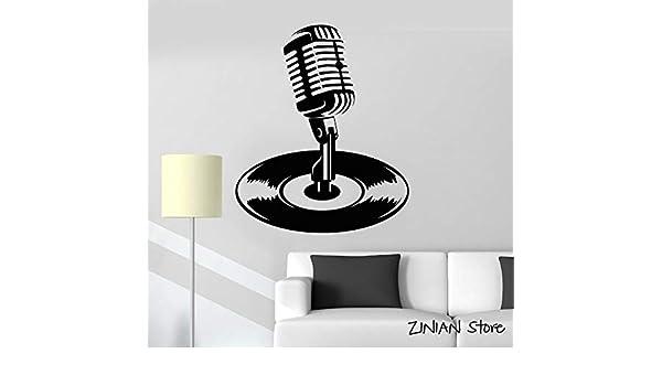 yaonuli Micrófono Disco de Vinilo Kara Music Etiqueta de la Pared Etiqueta de la Pared removible Dormitorio Sala de Estar decoración de la pared63x79cm: Amazon.es: Hogar