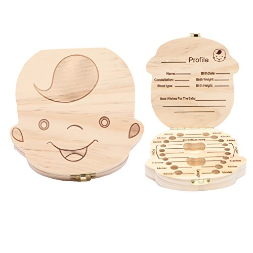 Wooden Baby Tooth Keepsake Box Customize Personalized Baby Teeth Storage Organizer First Lost Milk Teeth Deciduous Souvenir Case (Boy) by EasyCare
