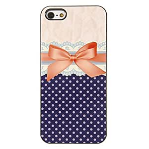 NEW Graceful Bowknot Pattern PC Hard Case with 3 Packed HD Screen Protectors for iPhone 5/5S