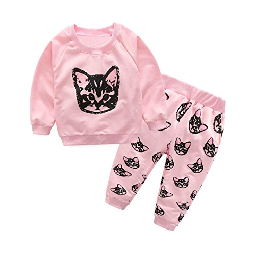 HANYI Baby Kids Set Cats Print Tracksuit +Pants Outfits Set (4T, Pink)