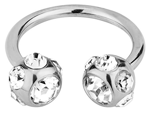 14g 12mm Surgical Steel Horseshoe Piercing Ring with 7-Gem Clear Crystal 6mm Balls