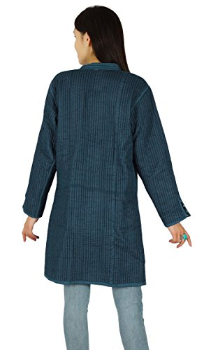 Las mujeres de algodón de invierno caliente del pavo real de la pluma de impresión capa de la chaqueta de la chaqueta reversible Azul