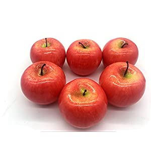 Maggift Artificial Fruits 6 pack,Decorative Fruit (Apple Red) 1