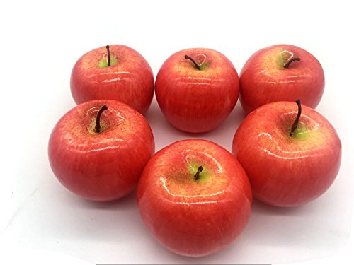 Decorative Apple - Maggift Artificial Fruits 6 pack,Decorative Fruit (Apple Red)