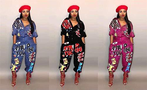 6b0951cfab1c LKOUS Womens Casual Cartoon Printing Short Sleeves High Waist One-Piece  Jumpsuits Button Romper Playsuit