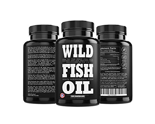 3 Three Bottle - Wild Fish Oil, U.S. Caught Omega-3 DPA, DHA & EPA - Burpless Gel caps, Non-GMO, Sustainable Certified, Tested for Purity (3 Bottle x 120 ct)
