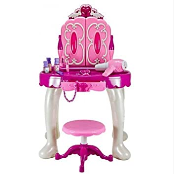 Beau Girlu0027s Beauty Makeup Large Glamour Mirror Dressing Table Play Vanity Set /  Toys