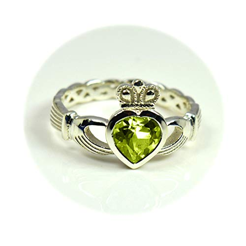 Choose Your Color Natural Gemstone Irish Claddagh Silver Ring Friendship Love 55 Carat Brand Size 5 to 12 by 55Carat