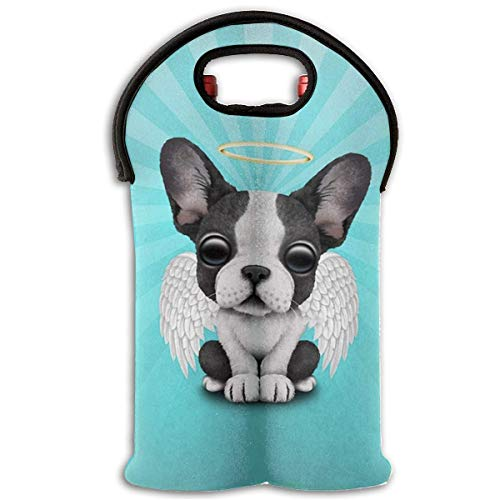 2-Bottle Neoprene Wine/Water Bottle Tote Bag Bulldog Angel Wings Thermal Wine Bottle Carrying Cooler Carrier for Travel, Picnic, for Wine Lover ()