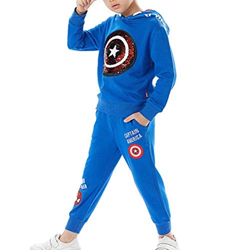 Tsyllyp Kids Boys Magic Sequin Hoodies Pants Set Child Clothes Outfit Pant Sets 110(US 3-4 Years)