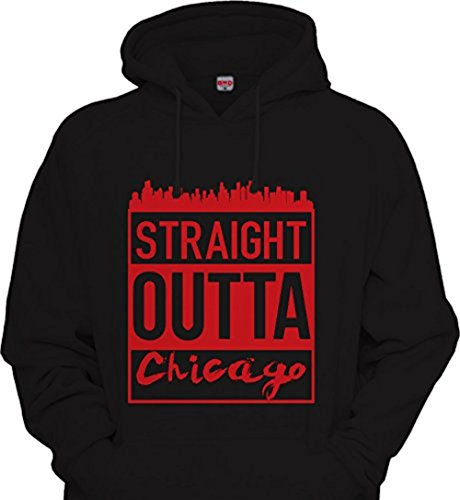 Mens Straight Outta chicago CHI town Hoodie Urbanwear Street wear Windy city Sweatshirt BLACK / RED (3XL / XXXL / 3X) (Chicago Cubs Hooded Jacket)