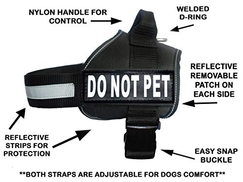Product image of DO NOT PET Dog Vest Harness with Removable Patches and Reflective Trim. Comes with 2 DO NOT PET Reflective Removable Patches. Please Measure Dogs Girth Before Purchase