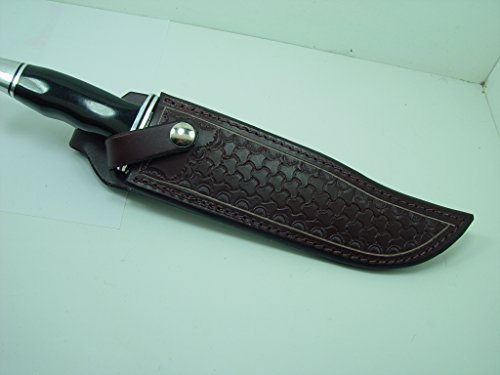 - A Custom Brown Leather Knife Sheath That Will Fit a Buck 120. Tooled with Basket Weave. Knife Not for Sale!