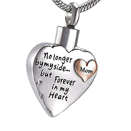 Cremation Jewlery Ashes Keepsake Urn Necklace for Ashes Heart Urn Pendant No Longer by My Side Forever in My Heart Mom Dad Papa (Silver-Mom) (Forever In My Heart Lockets And Charms)
