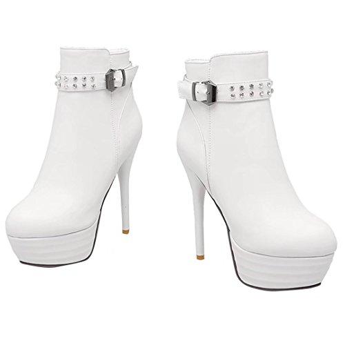 AIYOUMEI Damen Herbst-Winter 13cm Hoher Absatz Stiletto Plateau Kurz Stiefel mit Strass und Schnalle Party Schuhe Weiß