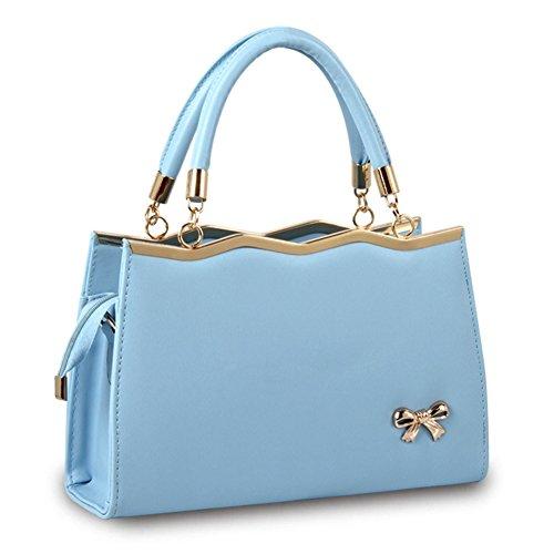 Womens Handle faishon shoulder Purse Leather Bag Bags 2018 PU Top Blue Bow bag Shoulder handbag Black handbag Tote 2 style casual new Pv5wZ