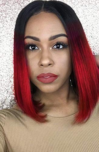 Amazoncom Synthetic Bob Wig Ombre Short Wig Straight Burgundy