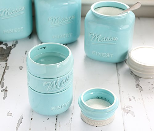Mason Jar Measuring Cups Set - Set of 4 Ceramic Measuring Cups (1/4, 1/3, 1/2, 1 cup) in Rustic, Antique, Farmhouse Design Perfect for Your Kitchen by Sparrow Decor (Blue) by Sparrow Decor (Image #8)