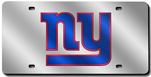 Rico Industries New York Giants Laser Cut Silver License Plate,One Size Fits ()