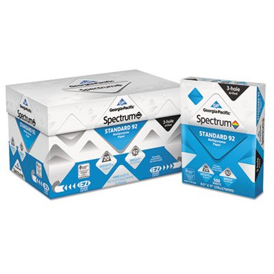 Spectrum Standard 92 Paper, 20lb, 8 1/2 x 11, White, 3 Hole Punched, 5000 Shts, Sold as 10 Ream
