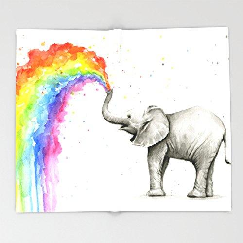 Society6 Baby Elephant Spraying Rainbow Whimsical Animals Throw Blankets 88'' x 104'' Blanket