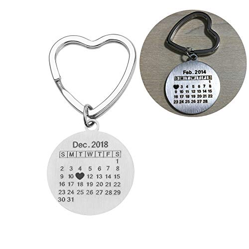Personalized Special Date Calendar Keychain - Customized Stainless Steel Key Chain with Date and Name Carving, Creative Gifts for Lover (Silver-Round)