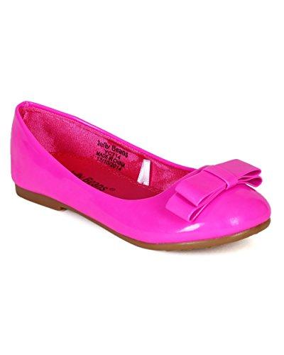 JELLYBEANS Patent Leatherette Double Bow Ballerina Flat (Toddler/Little Girl/Big Girl) CA15 - Magenta (Size: Little Kid (Big Kid Jelly Bean)