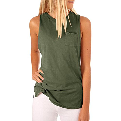Embellished Cami Silk (FEITONG Women's High Neck Tank Top Sleeveless Blouse Plain T Shirts Pocket Cami Summer Tops(Small,Green))