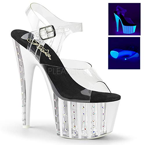 Pleaser Women's ADORE-708VLRS Sandal, clr/neon White, 7 M US