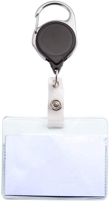 Built-in Stretchable Rope KLEBREIS 6 Pack Retractable ID Name Badge Holder Keychain with Carabiner and Key Ring,for Keys ID Cards Work Badges