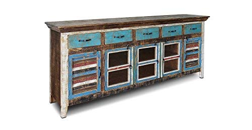 Crafters and Weavers Rustic Distressed Reclaimed Solid Wood Sideboard Cabinet Buffet Tv Console Multi Purpose Cabinet