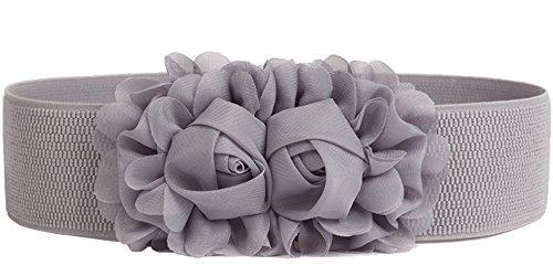 Women's Elastic Stretch Wide Rose Double-Flower Waist Belts for Dress (Grey) -