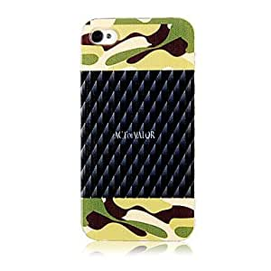 Bkjhkjy Original Camouflage Ground Countless Blade Pattern Transparent Frame Back Case for iPhone 4/4S