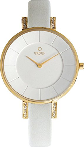 Obaku Denmark Women's Analog Goldtone Watch White Leather Band with Crystal Accents V158LEGIRW