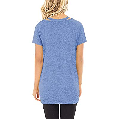 Sieanear Women's Casual Short Sleeve T-Shirt Tops Twist Knot Front Tunics at Women's Clothing store
