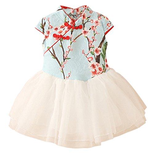 New Girls Chinese Dress - LittleSpring Little Girls' Qipao Dress Chinese Tutu Dress Size 3T Light-Blue