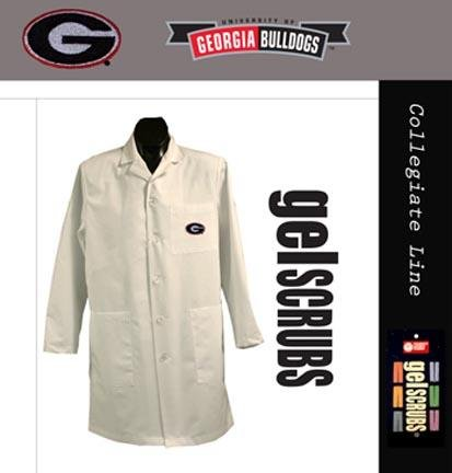 Gelscrubs Georgia Bulldogs Long Lab Coat from (with The G Logo) White