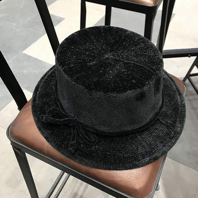 - Hats Home Retro Female Flat top Solid Color hat Foldable Chenille Suede Bow Wide Jazz Cap Temperament Royal Sister Fan (Color : Black)