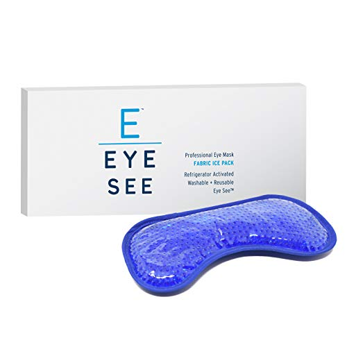 Eye See Cooling Gel Eye Mask for Puffy Eyes - Cold eye mask to treat Dark Circles, Sinuses, Dry Eyes, and for Allergy Relief - Great for Headaches / Migraines Too - Plush Fabric Back for your comfort