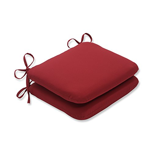 Pillow Perfect Indoor/Outdoor Red Solid Seat Cushion Rounded, - Cushions Furniture Wrought Patio Iron