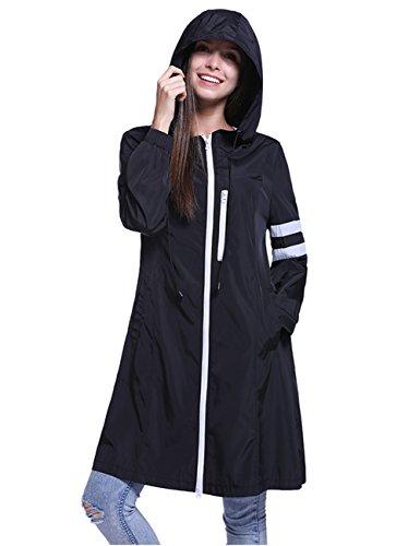 Fancyqube Women's Lightweight Packable Active Outdoor Rain Jacket Hooded Waterproof Breathable Raincoat Black M