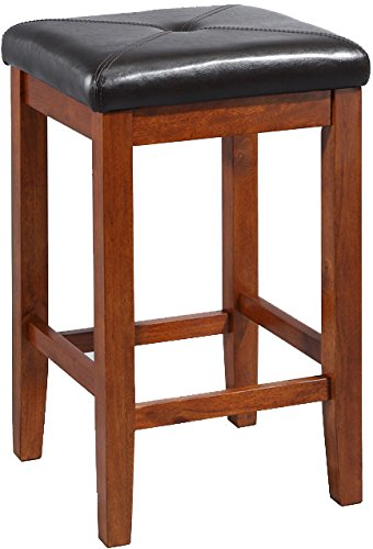 Cheap Crosley Furniture Upholstered Square Seat 24-inch Bar Stool – Classic Cherry (Set of 2)